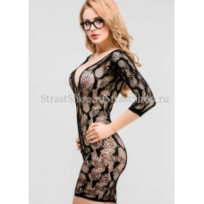 Платье-сетка ажурное с рукавами 3/4 (Femme Fatale) (OS) (FF7I-4100OS)