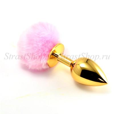 Золотая втулка с розовым хвостиком, l=9см, d=3,7см
