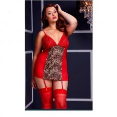 Сорочка красная с леопардовым принтом (Queen size)