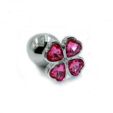"""Пробка анальная """"Kanikule"""", S, алюминий, ярко-розовый кристалл, Silver (KL-AL031S)"""