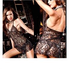 Платье Deeper in Hell черное кружевное с завязками за шеей и серебристыми орнаментами (BL698)