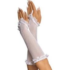 Перчатки-сетка до локтя, белые-OS