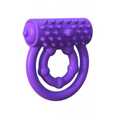 Эрекционное кольцо на пенис и мошонку фиолетовое с вибрацией