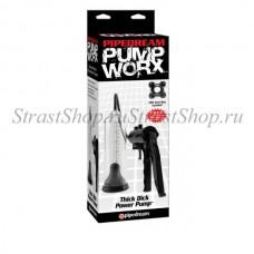 Вакуумная помпа для мужчин Pump Worx Thick Dick Power Pump - Black