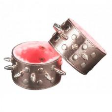Напульсник бронзовый с шипами и розовым мехом (5016-7)